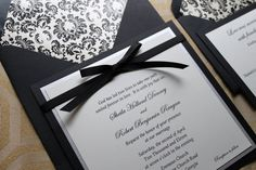 Square Damask Invitation with Bow