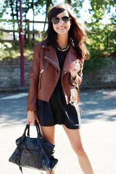 LBD + Brown leather moto jacket + Gold necklace