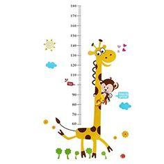 Singe d'escalade sur Girafe Hauteur croissance de mesure Tableau Sticker mural enfants Sticker mural