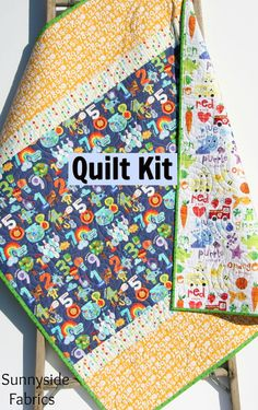 Quilt Kit, Color and Count, Quick Easy Fun, Beginner Project, Numbers Letters English Spanish Educational Dual Languages Child Youth Quilt by SunnysideFabrics