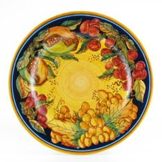 Hand Painted Italian Ceramic 11-inch Dinner Plate Frutta Classica - Handmade in Deruta by thatsArte. $77.00. Handmade in Deruta, Italy. Signed by the artist. 100% food safe. Ships from Italy with fully insured air service. Free shipping over $400. Contact thatsArte for additional dinnerware, serveware and kitchenware items. diam. 11 inches. Frutta Classica is a high end Deruta pottery collection, whose beauty lies in its being completely free hand painted. No complicated tools o...