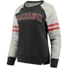 Women s Chicago Blackhawks Fanatics Branded Heathered Gray True Classics  Fleece Crew Pullover Sweatshirt Crew Neck Sweatshirt 2cfc00807