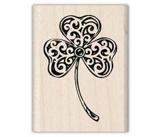 Scrapbook stamp-Inkadinkado® Heart Clover Wood Stamp for St. Patricks day
