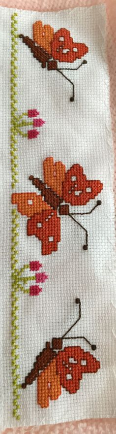 This Pin was discovered by Ayş Cross Stitch Bookmarks, Cute Cross Stitch, Cross Stitch Bird, Cross Stitch Borders, Cross Stitch Designs, Cross Stitching, Cross Stitch Patterns, Hand Embroidery Stitches, Hand Embroidery Designs