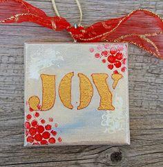 Joy Ornament Hand Painted Canvas Ornament Christmas Tree