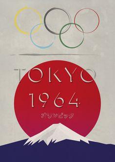 Tokyo Olympics 1964 Retro Styled Poster Vintage by DELTANOVA