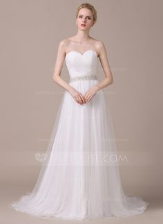 A-Line/Princess Sweetheart Court Train Tulle Wedding Dress With Ruffle Beading Sequins (002058809)