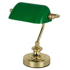 RETRO Tisch Lese Leuchte Banker Lampe Arbeits Zimmer Strahler Nacht Licht grün Globo 24917: Amazon.de: Beleuchtung Desk Lamp, Table Lamp, Rgb Led, 5 W, Messing, Decoration, Antique Brass, Kitchen Cabinets, Crystals