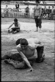 Henri Cartier-Bresson - Turkey. Istanbul. 1964. Oil wrestlers training.