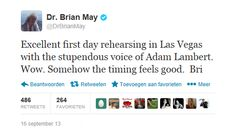 Brian May tweets about the rehearsals for Queen + Adam Lambert in Las Vegas | Source: twitter Brian May