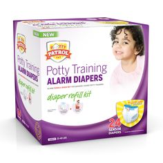 The Potty Patrol Alarm Diapers Refill Kit contains 24 sensor diapers and a potty training guide. These diapers are designed to be used with the alarm that is contained in the Starter Kit. Once the Pot