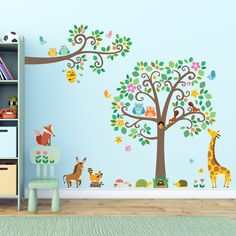 Decowall,DM-1502P1512,Large Scroll Tree and Animals & Scroll Branches and Animals peel & stick Nursery wall decals stickers: Amazon.co.uk: Baby