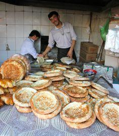 hot and fresh Uighur Muslim bread - great street food in Shanghai!