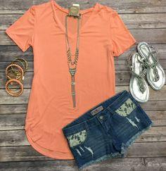 Vicky Basic V Tunic Top: Peach