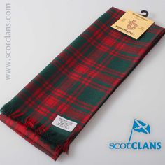 Menzies Red/Green Tartan Scarf. Free worldwide shipping available.