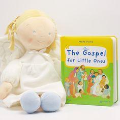 Unique Catholic Baptism Christening Baby Gift - The Gospel for Little Ones & Big Angel Doll   Coming Up Catholic