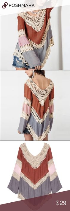 """Crotchet Knit Loose Long Sleeve Boho Beach Top With layers of burnt orange, light pink, and soft grey, this comfy all season top is perfect for the beach in summer or with jeans in winter.  Manufacturer sells as """"One Size"""".  This is perfect as a Size L or a loose S or M.  Fun and very pretty!   Get ready for the compliments you will surely receive!  Bust 42"""", Length 33"""",  14"""" around top of sleeves.  NWOT:  Shipped to our store prior to branding and tagging for distribution.  All manufacturer…"""