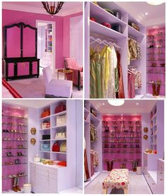 I want to paint Riley's closet with hot pink!  1. CLOSET DESIGN: Walk-in closet with lots of shoe storage and a cute bench to make you feel like a princess =]