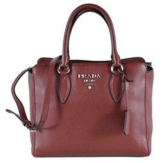 Prada Vitello Phenix Rubino Burgundy Small Crossbody Satchel Handbag 1BA205