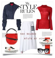 """New Season State Of Mind"" by lidia-solymosi ❤ liked on Polyvore featuring E L L E R Y, Balmain, Thom Browne, Marni, Off-White and Alexander McQueen"