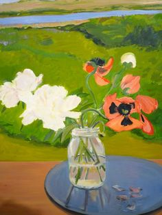 """Detail from """"Poppies & Peonies"""" 1983 oil on linen Jane Freilicher photographed by Lynn Byrne"""