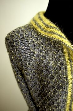 "evitbolt's ""Sulfur Stained Ivel"" - LOVE the accented look caused by holding the Kidsilk Haze only where the yarn is carried in front"