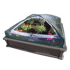 4 ft. x 4 ft. Two Raised Garden Beds with One Tent Enclosure, Brown