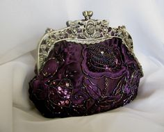 Vintage Design Royal Purple Sequin Glass Bead Handbag
