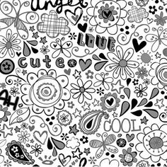 Black and White Doodlerific Paisley Wallpaper