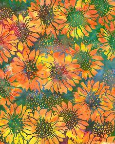 Bold Helianthus Batik - Quilt Fabrics from www.eQuilter.com