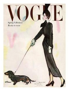Vogue Cover - March 1917 - Dachshund Stroll Regular Giclee Print by René R. Bouché at Art.com