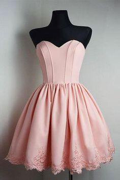 Simple A Line Strapless Sweetheart Short Pink Homecoming Dress Ball Gown OK375