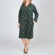 abb8894728a Shop for La Cera Women s Plus Size Hunter Floral Print Corduroy Dress. Get free  delivery at Overstock - Your Online Women s Clothing Destination!