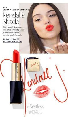 Kendall Jenner For Estee Lauder, Restless Lipstick. The latest from Lauder is a limited edition lipstick color from Kendall Jenner. Kendall Jenner Lipstick, Kendall Jenner Estee Lauder, Kendall Jenner News, Red Lipstick Shades, Dark Lipstick, Lipstick Swatches, Love Makeup, Makeup Inspo, Beauty Makeup