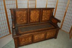 antique carved bench $950