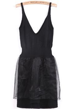 Black Spaghetti Strap V Neck Organza Dress - Sheinside.com