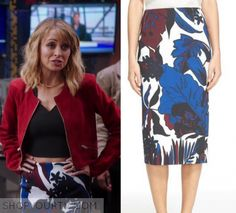 f06c8c35ef21f Portia Scott-Griffith (Nicole Richie) wears this floral blue and white  printed midi pencil skirt in this episode of Great News