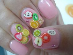Let your nails steal the show with fresh and juicy fruit nail art designs. Move on and on to find the best of the best from these 57 truly unique ideas! 3d Nail Art, Kawaii Nail Art, 3d Acrylic Nails, Fruit Nail Art, Cute Nail Art, Nail Art Hacks, 3d Nails, Cute Nails, Pretty Nails