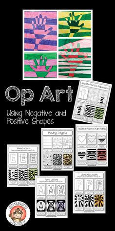 Op Art Using Positive and Negative Shapes... 6 lessons that will help you teach about Op Art from start to finish. Sneak in some information about shapes and color while your students are having fun! This set includes 2 presentations, 6 Op Art lessons and 1 color lesson.