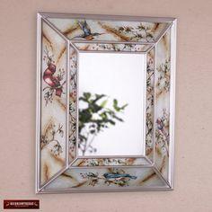 Espejo Decorativo Rectangular Vidrio Pintado - Decoracion espejos - Arte y Artesania Peruana en Vidrio Pintado - Espejo con marco plata by DECORCONTRERAS on Etsy
