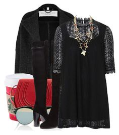"""""""black lace"""" by jacisummer ❤ liked on Polyvore featuring Burberry, Chloé, Christian Dior, Stuart Weitzman and Topshop"""