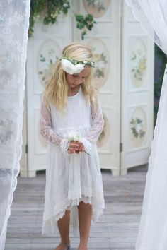 Arabella Long sleeve flower girl dress by Tea Princess www.teaprincess.com.au rustic weddings boho weddings winter weddings junior bridesmaids flowergirls