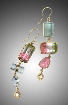 Raw Tourmaline Earrings by Russell Jones: Gold & Stone Earrings available at www.artfulhome.com