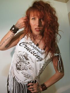 Wasted Illusions tee made out of a white Övertorneå Crusing tee. With this model you can be either a Small or a Large. It is open wide on the 70s Hippie, Rock N Roll, Rockabilly, Illusions, Cool Outfits, T Shirts For Women, Crop Tops, Trending Outfits, Tees
