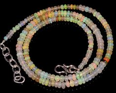 "37CRTS 3to4MM 18"" ETHIOPIAN OPAL RONDELLE BEAUTIFUL BEADS NECKLACE OBI3033 #OPALBEADSINDIA"
