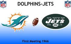 1966, National Football League (1st DOLPHINS-JETS), Miami Dolphins < > New York Jets #Dolphins #Jets #NFL (L24424) Nfl Jets, Football Rivalries, Sports Logos, New York Jets, National Football League, Miami Dolphins, Logo Design, National Soccer League