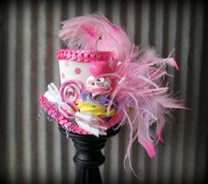 Bubblegum Pink Polkadot Cupcake Mini Top Hat Mad by ChikiBird