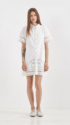 Sea NY Cutout Cotton Shirt Dress in White | The Dreslyn