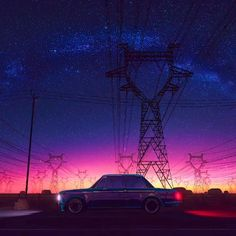 vaporwave videos Synthwave music video driving into the night driver country trip art digital artwork Aesthetic Movies, Night Aesthetic, City Aesthetic, Aesthetic Videos, Aesthetic Backgrounds, Retro Aesthetic, Aesthetic Anime, Aesthetic Pictures, Aesthetic Wallpapers