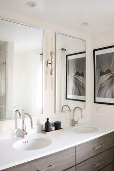 minimalist black and white bathroom Black And White Master Bathroom, White Bathroom, Restoration Hardware Outlet, Marble Showers, Linen Cabinet, Bathroom Goals, H&m Home, Under Cabinet Lighting, Hudson Valley Lighting